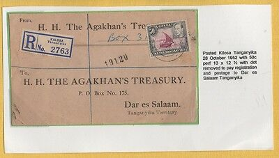 KUT 1952 AGHAKHAN REG LOCAL Cover 50c Franking PAYING REG/POSTAGE DAR es SALAAM