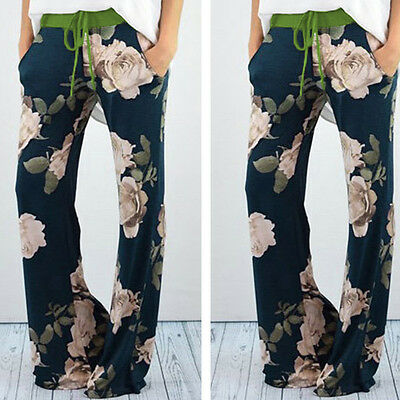 Fashion LADIES FLORAL PRINT PALAZZO TROUSERS WOMENS SUMMER WIDE LEG PANTS NEW!!!