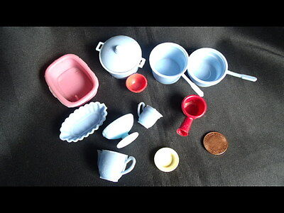 Vintage Dolls House Accessories Pots Pans Bowl Blue Bundle