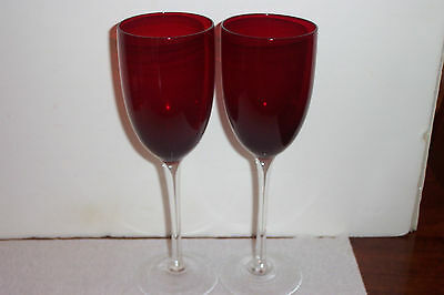 "2 Ruby Red Bowl w/ Clear Stem 9"" Wine Glasses"