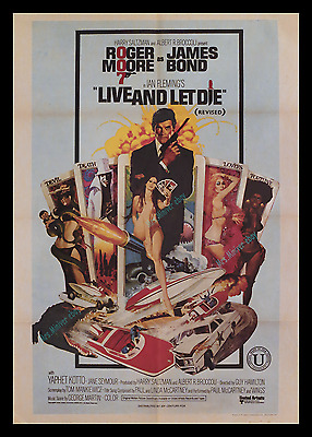 LIVE AND LET DIE ☆ ROGER MOORE ☆ PAUL McCARTNEY ☆ RARE UK MOVIE POSTER 1- SHEET!