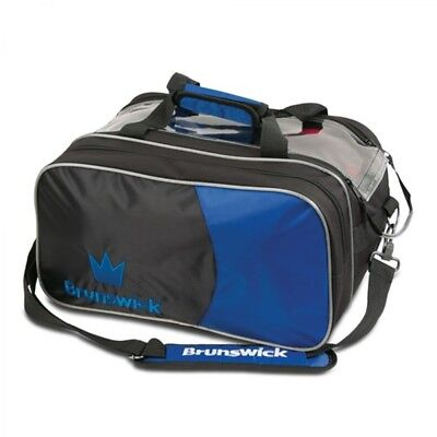 Brunswick ick Bowling Bag Deluxe Crown 2 Ball Bag with Shoe compartment Blue