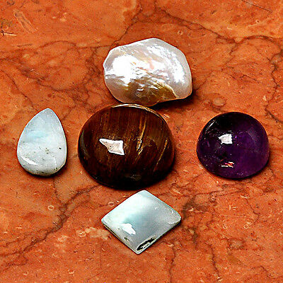Gemstone Lot 5 Pcs Tiger Eye Cabochon Loose Gem Cab AUK91