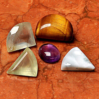 Gemstone Lot 5 Pcs Tiger Eye Cabochon Loose Gem Cab AUK95