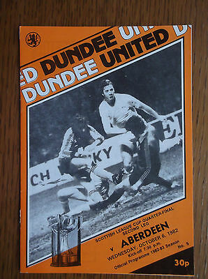 DUNDEE UNITED v ABERDEEN SCOTTISH LEAGUE CUP QUARTER-FINAL WED 6 OCTOBER 1982