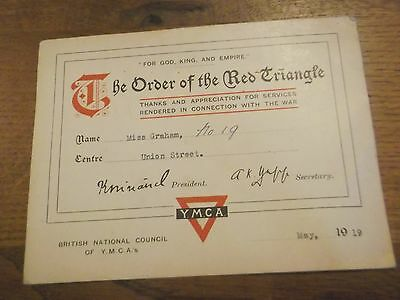 1919 Ww1 Gratitude Ymca Card To Plymothian -The Order Of The Red Triangle Card