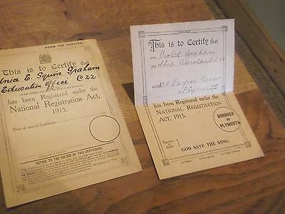 2 X Ww1 National Registration Cards From Plymouth In Devon