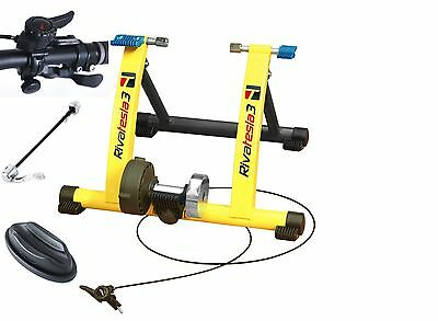 Rivasport Tesla 3 Yellow Magnetic Turbo Trainer With Remote Cable