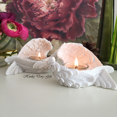 Set Of 2 Angel Wings Candle Holders Votive Tealight White Heaven Memorial