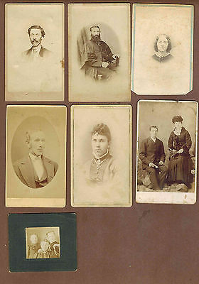 CDV, CABINET CARDS:  Collection of 14 different photos, blank backed