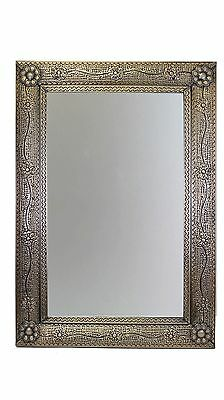 San Miguel Punched Tin Mirror-Copper Tone-Mexican Folk Art-Handmade-27x40 inches