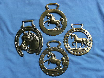 Horse Brass   Stamped Four Horse Figures Harness Worn