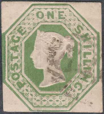 1847/54 SG55 1s GREEN EMBOSSED CUT SQUARE LIGHT CANCEL CLEAR PROFILE