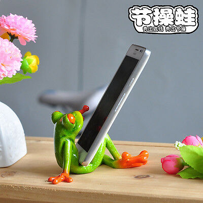 Novelty Cute Frog Figurines Resin Desk Decor-Sitting Frog Phone Support 25