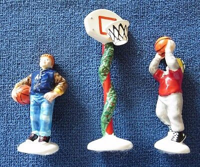 BARGAIN Dept. 56 Snow Village basketball accessory set of 3! Holiday Hoops!