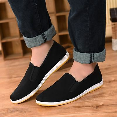 Men Black Chinese Style Slip On Canvas Working Flat Casual Loafers Shoes UK 6-9