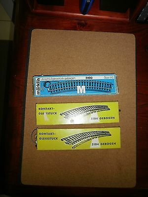 Marklin - (3) Curved Track Sections - Ho Scale (Boxed)