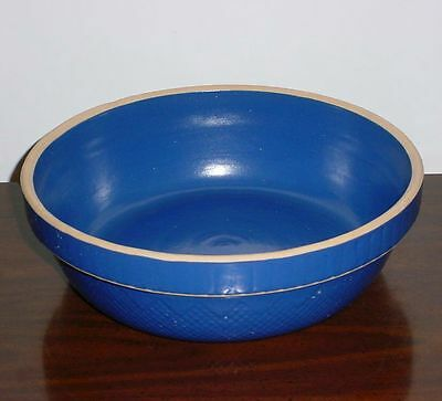 "Large Blue Yellow Ware Bowl 11"" Stoneware Crock Made in USA Diamond Point"
