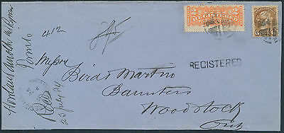 1884 Toronto to Woodstock, Double Rate, #F1 2c Registered + 6c Small Queen