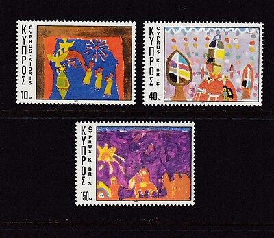 Cyprus #490-492 Mnh Nativity Drawings By Children