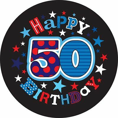 Badge 15cm Happy Birthday Age 50 Male Birthday Party Favor