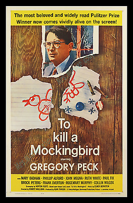 To Kill A Mockingbird ☆ 1962 Movie Poster 1-Sheet! ☆ Gregory Peck ☆ Harper Lee ☆