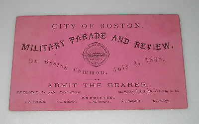 1868 U.S. CIVIL WAR Original Ticket BOSTON MILITARY PARADE REVIEW United States