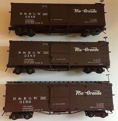 3 x ON3 Scale San Juan Car Co kit built D&RGW Box Cars- LOT 1
