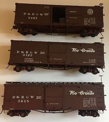3 x ON3 Scale San Juan Car Co kit built D&RGW Box Cars- LOT 3