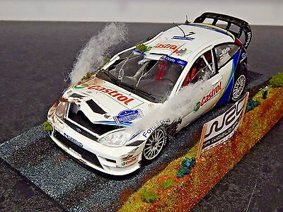 1/18 Ford Focus Rs Wrc Crash & Scene Diorama Rally France Classic 2003