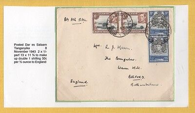 KUT 1943 AIR MAIL Cover ,2/-, 60c Franking PAYING DOUBLE AIRMAIL RATE to ENGLAND