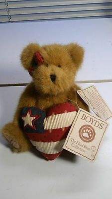 """Boyds PRIDE JUNE BEAR Red White Blue Heart Bow 8"""" 2006 Cracker Barrel Exclusive"""