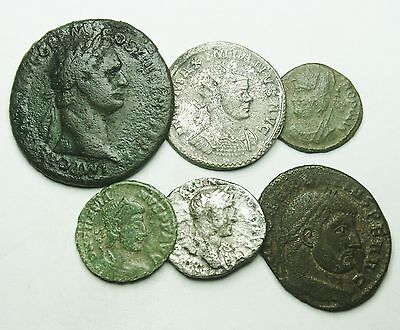 Interesting Selection Of Four Bronze & Two Silver Roman Coins (452U)