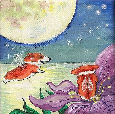 4X4 Print Of Painting Ryta Pembroke Welsh Corgi Folk Art Fairy Gift Whimsical