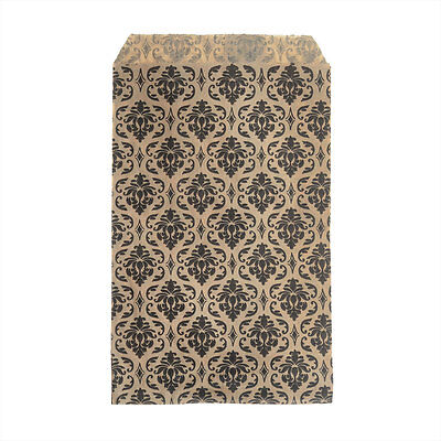 Paper Gift Bags, for Jewelry & Crafts 6x4 In, Brown w/ Black Damask Ptrn 100Pcs