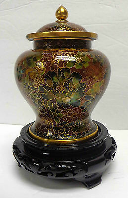 "Vintage 5"" Cloisonné Korean Urn with Lid and Decorative Wood Base!"