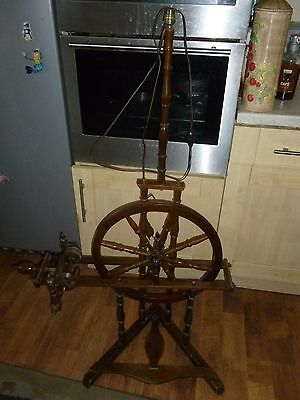 Vintage French Wooden Spinning Wheel with Electric Light