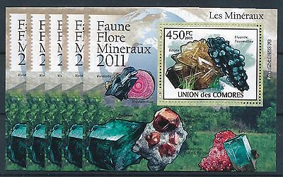 [H1705] Comoros 2011 Minerals good very fine MNH sheet x5