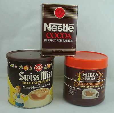Lot (3)Hills Bros Swiss Miss Nestle Cocoa Mix Tin Can Vintage Kitchen Decor Old