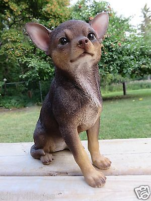 2 Chihuahua Dogs Statue Figurine Canine Home Decor Resin Pet Sitting Puppy 9 In.