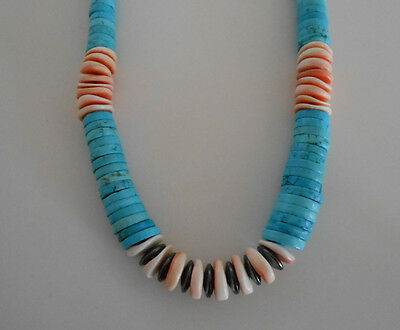 Native American Navajo Graduated Turquoise/spiny Oyster Heishi Necklace