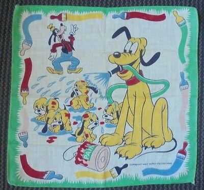 VINTAGE WALT DISNEY PRODUCTIONS PLUTO AND GOOFY HANDKERCHIEF**WOW!!! hankie