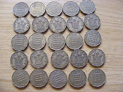 A Collection of 25 Threepence Coins - dates  1937 - 1967 inc rare 1951 & Jersey