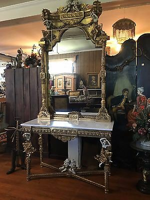 Console Mirror Gold Gilded Marble Top Cherubs Playing Musical Instruments Dance