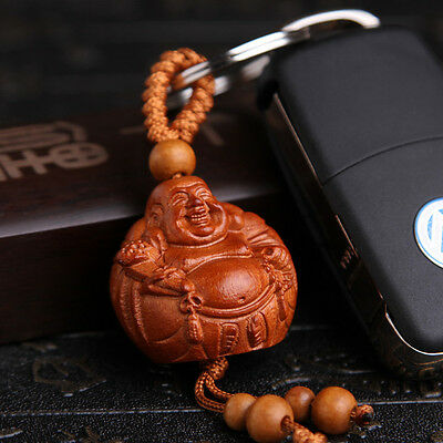 Happy Maitreya Buddha Wood 3D Carved Chinese Statue Pendant Key Chain Keyring