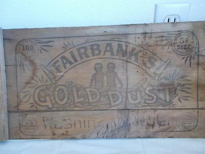 Antique WOOD GOLD DUST TWINS SIGN vintage Goldie Dusty shipping crate FAIRBANK'S