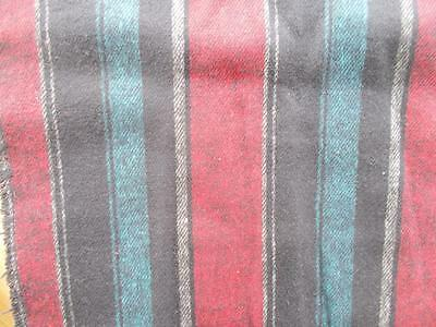"36"" x60"" WOOL woven STRIPE upholstery clothing FABRIC Black Turquoise Red Craft"