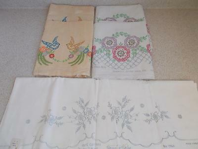 vintage lot of 6 UNFINISHED EMBROIDERED PILLOWCASES (3 PAIR) Tri Chem Vogart +++