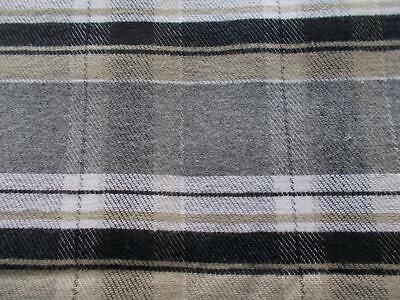 1.25 yds WOOL woven PLAID upholstery clothing FABRIC Black Grey White Tan Craft