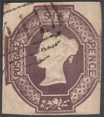 1854 SG59 6d DULL LILAC EMBOSSED CUT SQUARE FINE 3 MARGINS LEAMINGTON 444 CANCEL